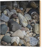 Stones On Beach Wood Print
