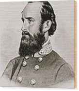 Stonewall Jackson Confederate General Portrait Wood Print