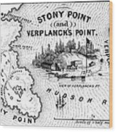 Stony Point Map, 1779 Wood Print by Granger