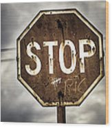 Stop Wood Print