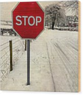 Stop Sign Wood Print