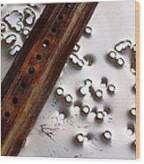 Stop Sign Bullet Holes Wood Print
