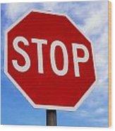 Stop Sign Ireland Wood Print