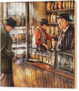 Store - Ah Customers Wood Print by Mike Savad