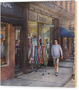 Store Front - Hoboken Nj - People Wood Print