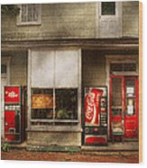 Store Front - Waterford Va - Waterford Market  Wood Print by Mike Savad