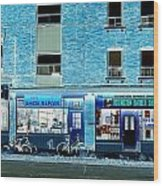Stores On Ossington In Blue Wood Print
