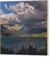 Storm Above St. Mary Lake Wood Print
