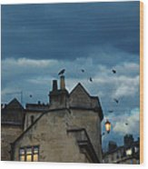 Storm Above Town Wood Print