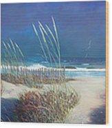 Storm At Sea Wood Print