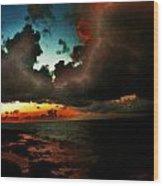 Storm At Sundown  Wood Print