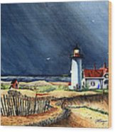 Storm At The Point Wood Print