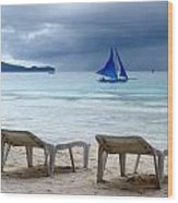 Stormy Beach - Boracay, Philippines Wood Print