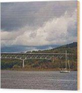 Storm Brewing Over Rip Van Winkle Bridge Wood Print