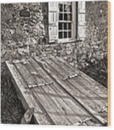 Storm Cellar And Window Wood Print by Mark Miller