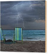 Storm Chairs Wood Print by Laura Fasulo
