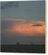 Storm Cloud And Oil Well Wood Print