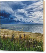 Storm Clouds In Door County Wood Print