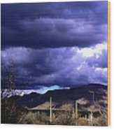 Storm Clouds In The Desert Wood Print