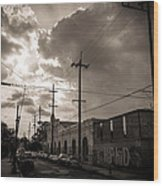 Storm Clouds Over Chartres Street In New Orleans.  Wood Print