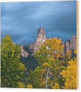 Storm Clouds Over Chimney Rock Wood Print