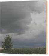 Storm Clouds Over Cornfields Wood Print
