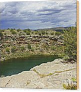 Storm Clouds Over Montezuma Well Wood Print