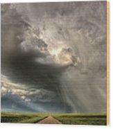 Storm Clouds Prairie Sky Saskatchewan Wood Print