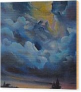 Storm Coming At The Sunset Wood Print