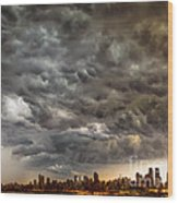 Storm Coulds Over Nyc Wood Print