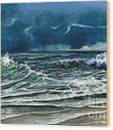 Storm Off Yucatan Mexico Wood Print