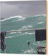 Storm On Tasman Sea Wood Print