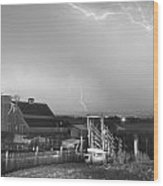 Storm On The Farm In Black And White Wood Print