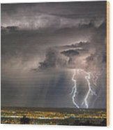Storm Over Albuquerque Wood Print