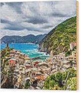 Storm Over Cinque Terre Wood Print