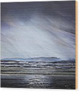 Storm Over Druridge Bay Northumberland 1 Wood Print by Mike   Bell
