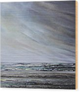 Storm Over Hauxley Haven Northumberland 1 Wood Print by Mike   Bell