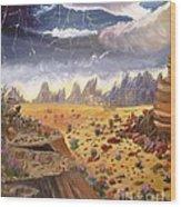 Storm Over The Desert Wood Print