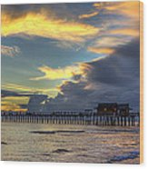 Storm Over The Pier Wood Print