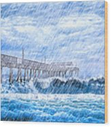 Storm Over The Sea - Tybee Pier Wood Print