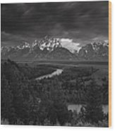 Storm Over The Tetons Wood Print by Andrew Soundarajan