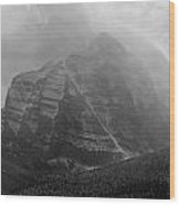 1m3556-bw-storm Raging Over Mt. Temple Wood Print
