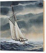 Storm Sailing Wood Print