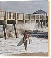 Storm Surfer Wood Print