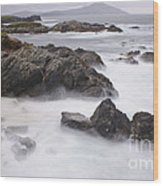Storm Waves And Cliffs Wood Print