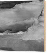 Storms Aloft B W Wood Print