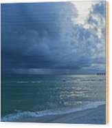 Storms Brewing Off Navarre Beach At Dawn Wood Print