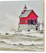 Stormy At Grand Haven Light Wood Print