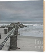 Stormy Beach Forcast Wood Print