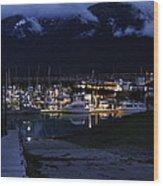 Stormy Boat Harbor Wood Print